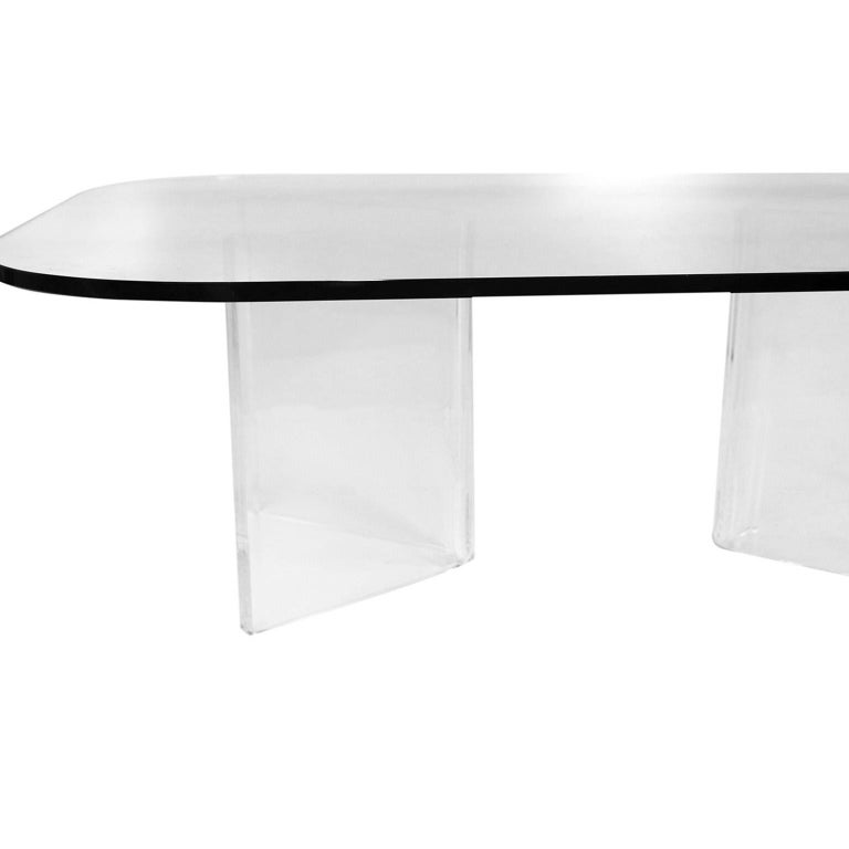 Mid-Century Modern Lucite Base Glass Top Coffee Table For Sale 1