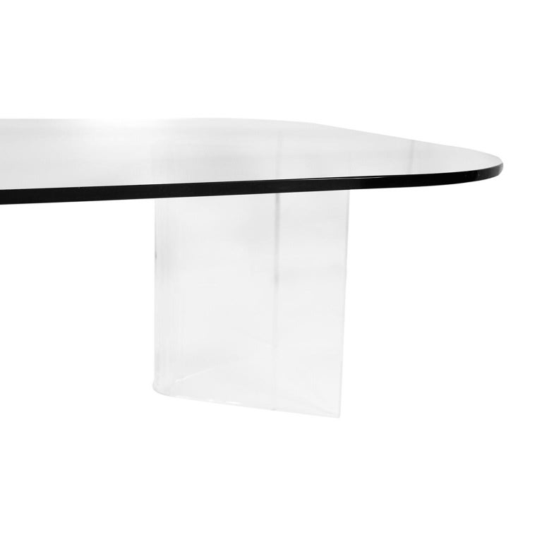 Mid-Century Modern Lucite Base Glass Top Coffee Table For Sale 2