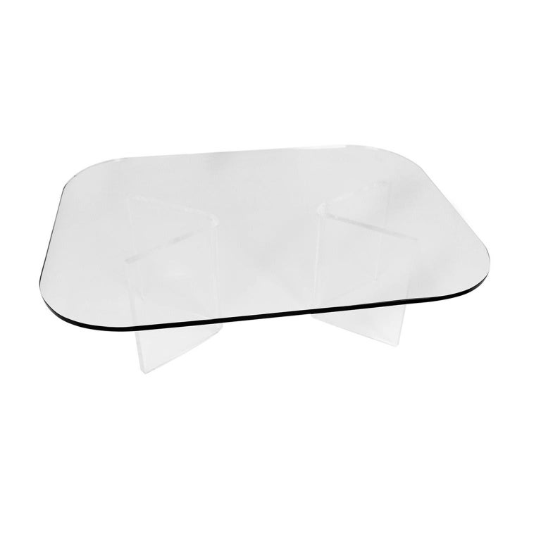 Mid-Century Modern Lucite Base Glass Top Coffee Table For Sale 3