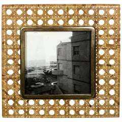 Mid-Century Modern Lucite Brass and Wicker Picture Frame in Christian Dior Style