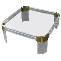 Mid-Century Modern Lucite Brass Glass Top Rounded Square Coffee Table
