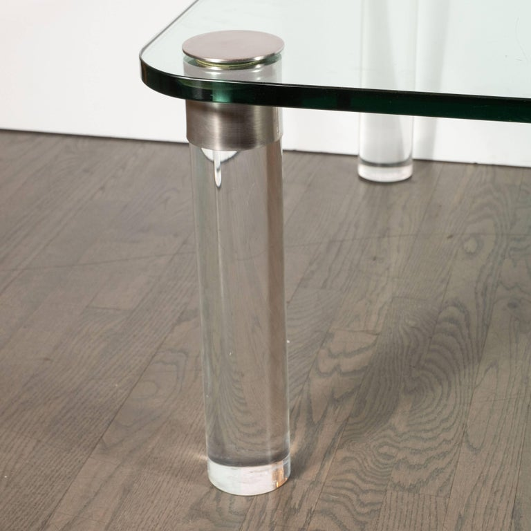 American Mid-Century Modern Lucite, Chrome and Glass Cocktail Table, Leon Rosen for Pace For Sale