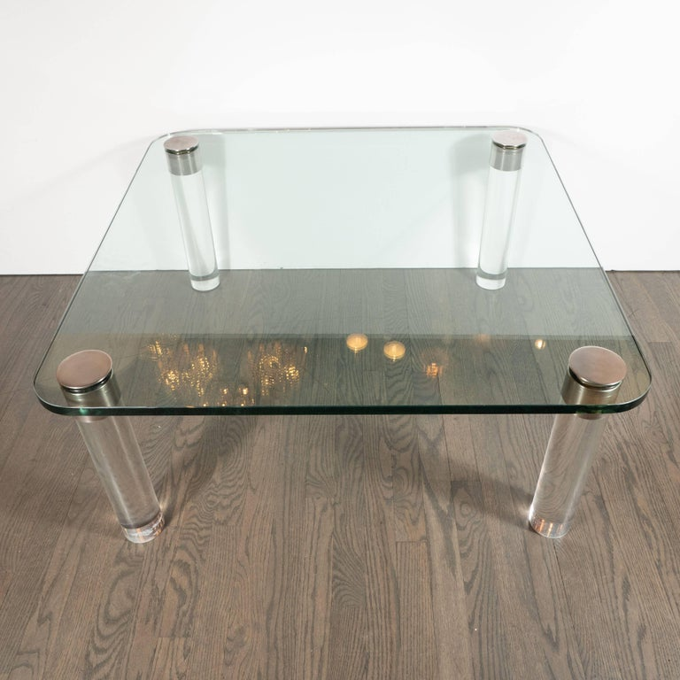 Brushed Mid-Century Modern Lucite, Chrome and Glass Cocktail Table, Leon Rosen for Pace For Sale