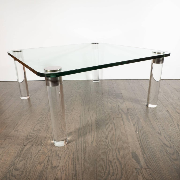 Mid-Century Modern Lucite, Chrome and Glass Cocktail Table, Leon Rosen for Pace In Excellent Condition For Sale In New York, NY