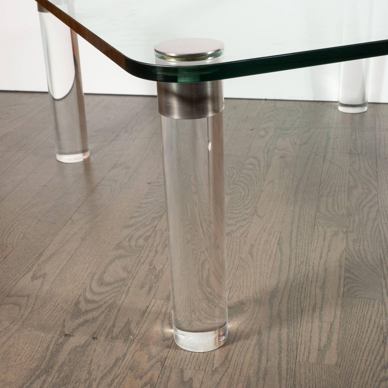 Late 20th Century Mid-Century Modern Lucite, Chrome and Glass Cocktail Table, Leon Rosen for Pace For Sale