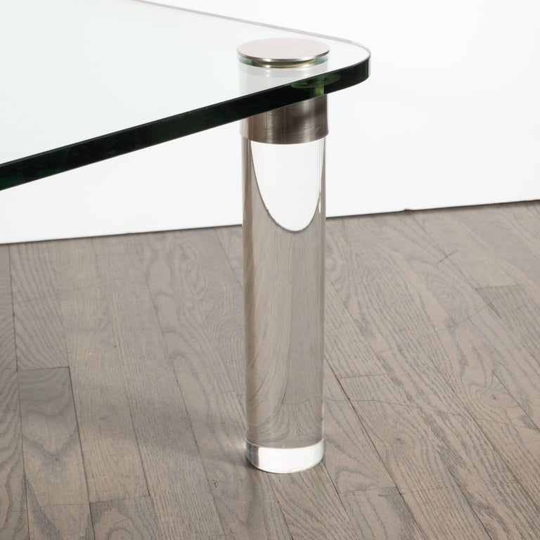 Stainless Steel Mid-Century Modern Lucite, Chrome and Glass Cocktail Table, Leon Rosen for Pace For Sale