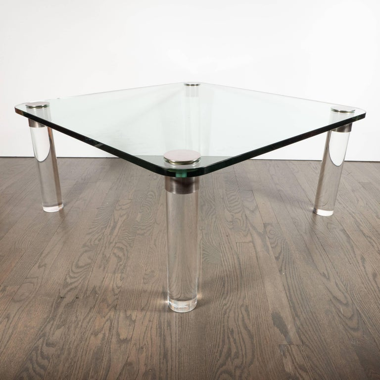 Mid-Century Modern Lucite, Chrome and Glass Cocktail Table, Leon Rosen for Pace For Sale 1