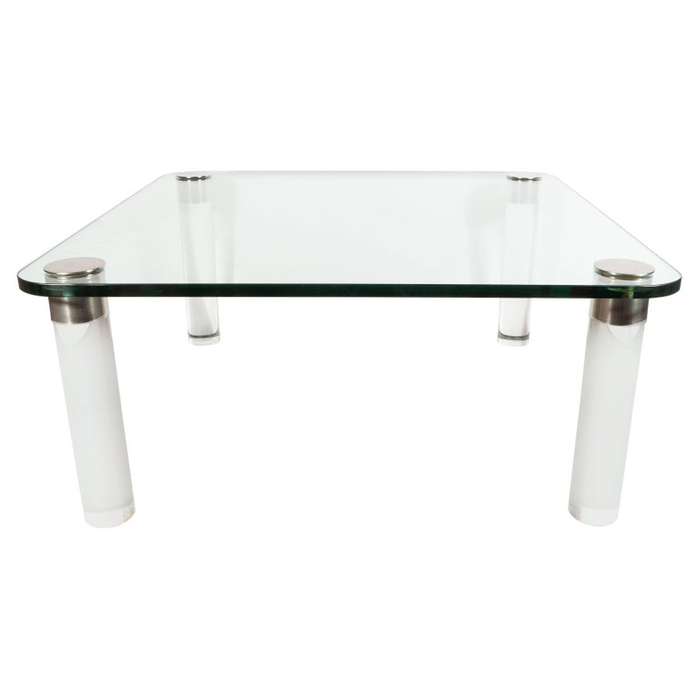 Mid-Century Modern Lucite, Chrome and Glass Cocktail Table, Leon Rosen for Pace For Sale