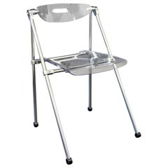 Mid-Century Modern Lucite and Chrome Folding Side Chair 1960s Castelli Style