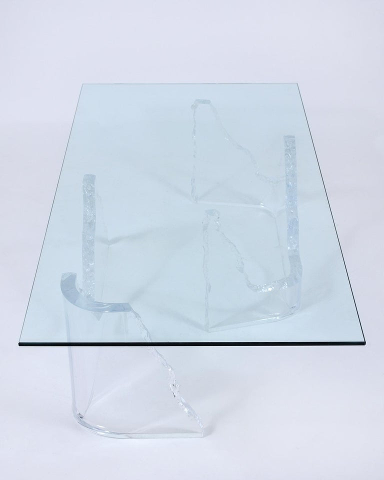 Contemporary Mid-Century Modern Lucite Base Coffee Table For Sale