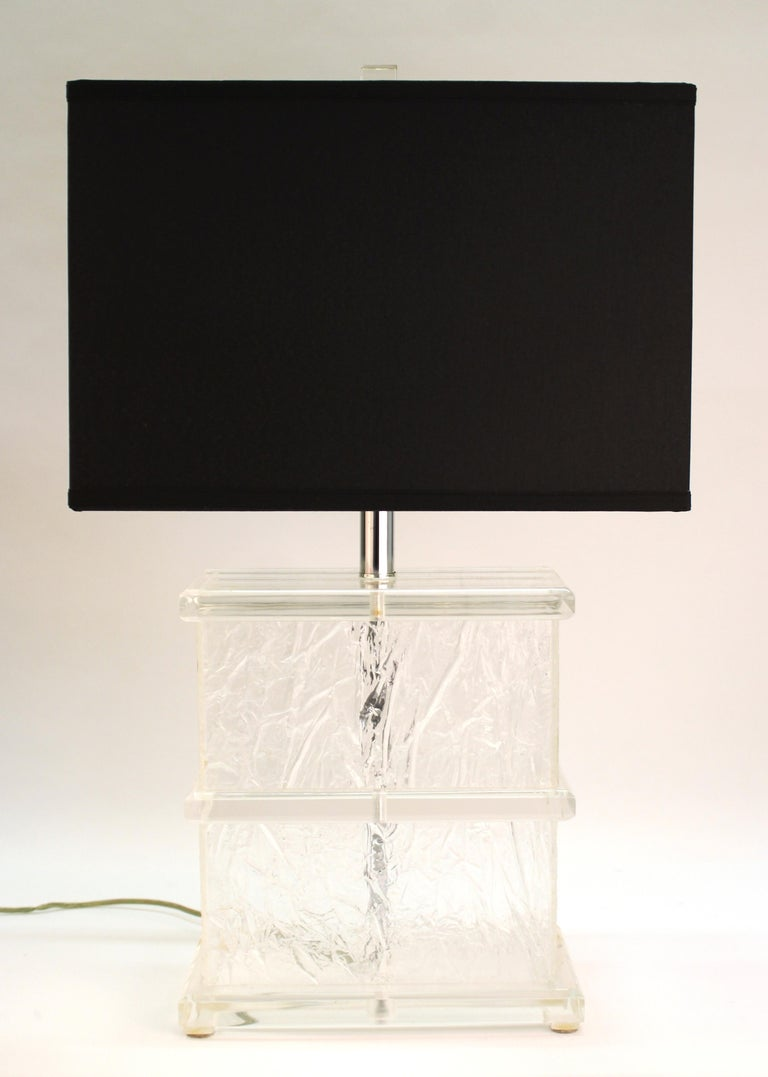 Mid Century Modern Lucite Crackle Table Lamps With Black Shades For Sale At 1stdibs