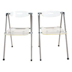 Mid-Century Modern Lucite Folding Chairs G. Piretti Attributed by Castelli, Pair