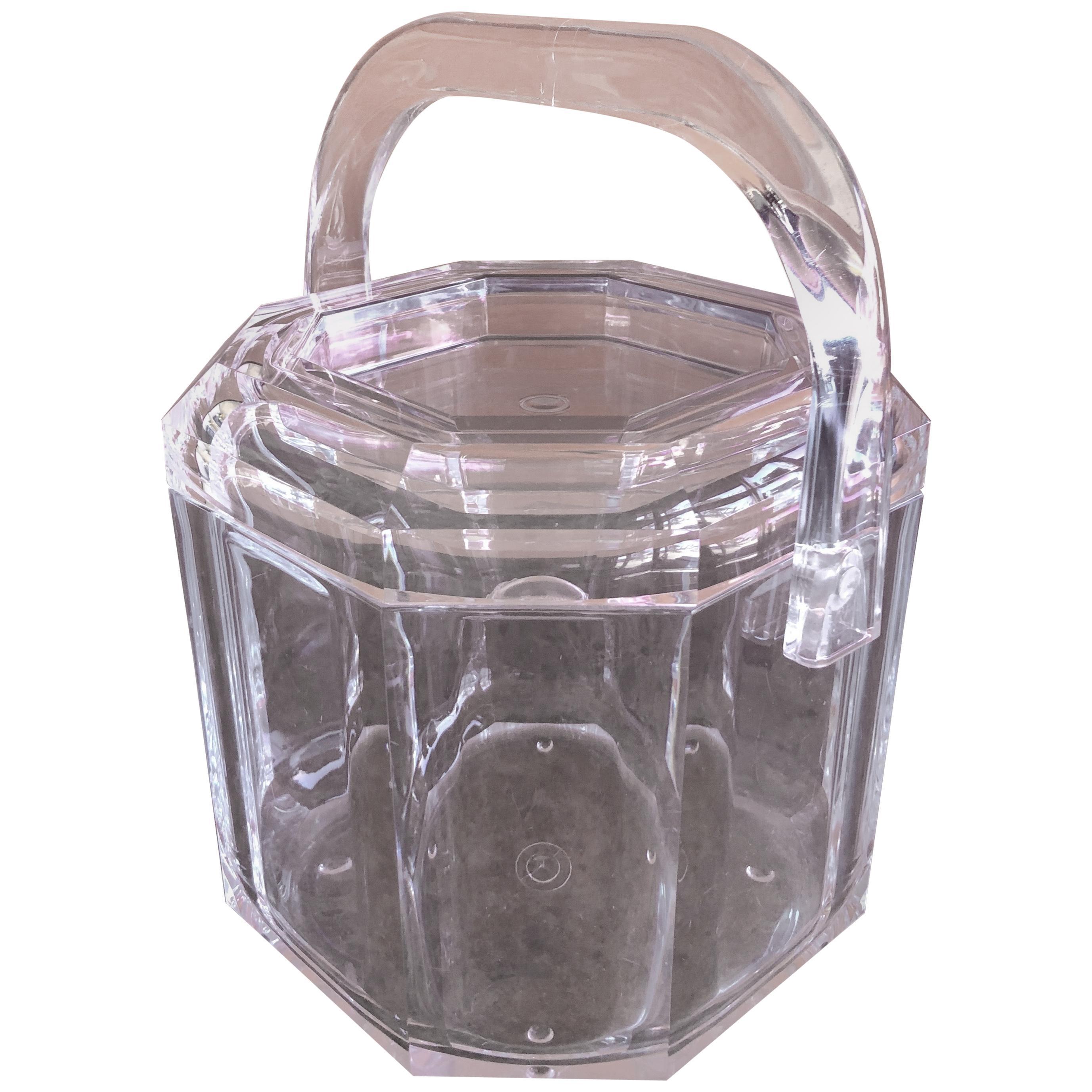 Mid-Century Modern Lucite Ice Bucket with Handle