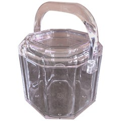 Mid-Century Modern Lucite Ice Bucket with Handle