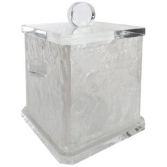 Mid-Century Modern Lucite Ice Bucket with Liner and Cover