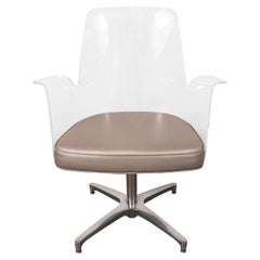 Mid-Century Modern Lucite, Metallic Leather and Chrome X- Form Side Chair