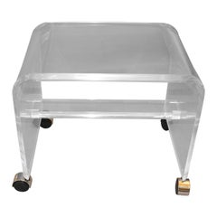 Mid-Century Modern Lucite or Acrylic Stool, Vanity Stool on Chrome Casters