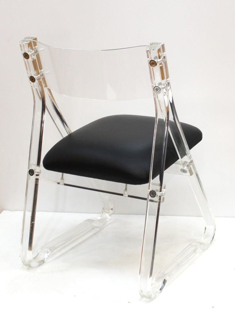 Mid-Century Modern Lucite Side Chairs with Leather Upholstery For Sale 5