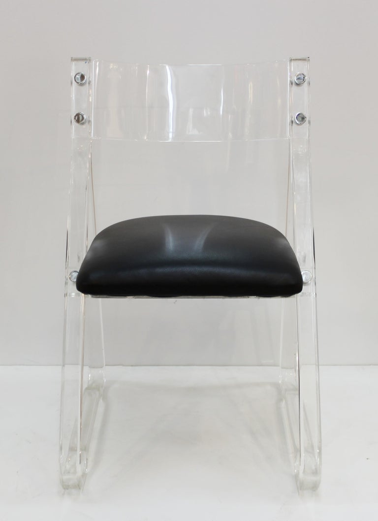 Mid-Century Modern Lucite Side Chairs with Leather Upholstery In Good Condition For Sale In New York, NY