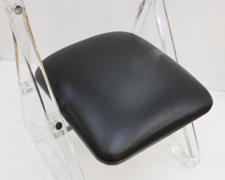 Mid-Century Modern Lucite Side Chairs with Leather Upholstery For Sale 1
