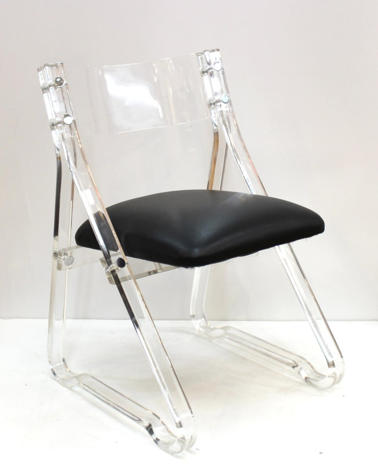 Mid-Century Modern Lucite Side Chairs with Leather Upholstery For Sale 2