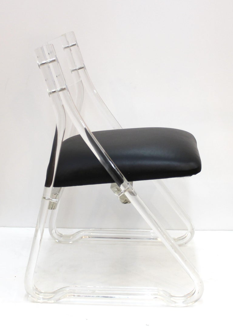Mid-Century Modern Lucite Side Chairs with Leather Upholstery For Sale 4