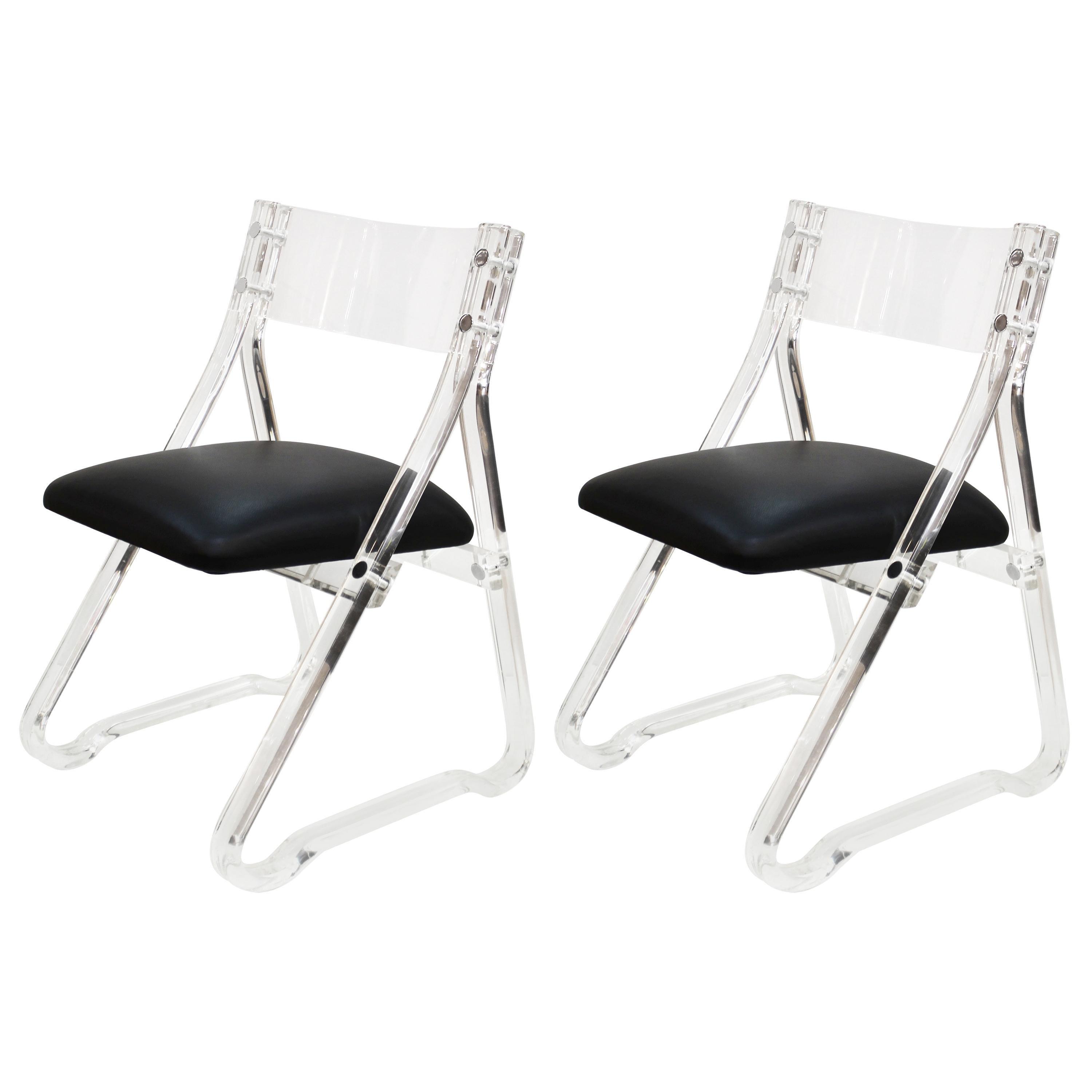 Mid-Century Modern Lucite Side Chairs with Leather Upholstery