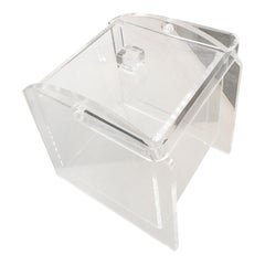 Mid-Century Modern Lucite Square Barware Ice Bucket with Lucite Handle