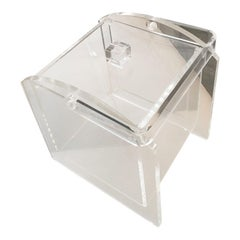 Mid-Century Modern Lucite Square Ice Bucket with Handle