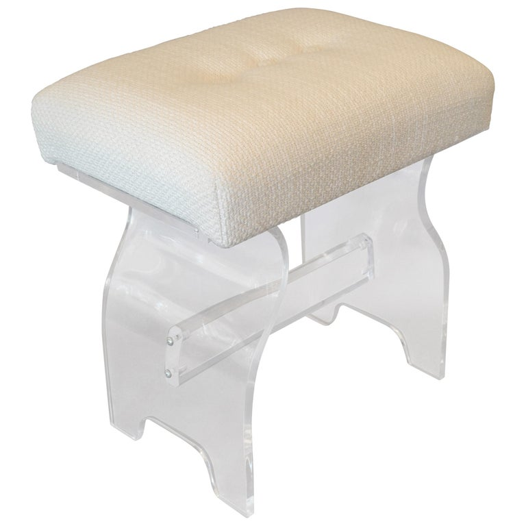 Pleasing Mid Century Modern Lucite Stool Footstool Vanity Stool In Boucle Fabric Dailytribune Chair Design For Home Dailytribuneorg