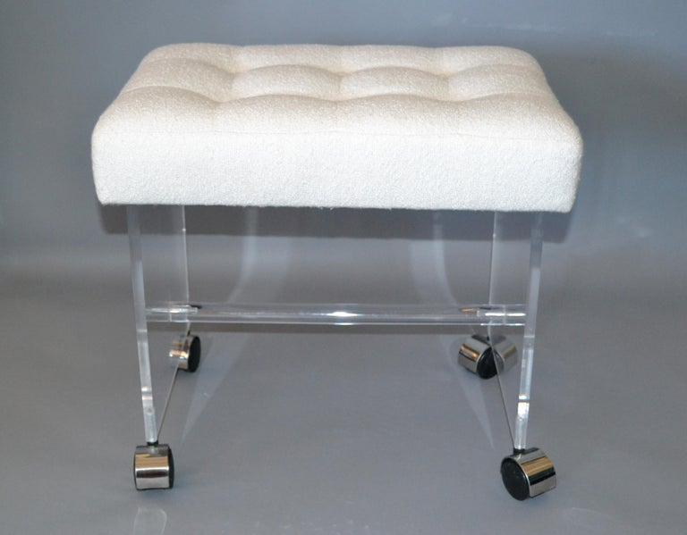Super Mid Century Modern Lucite Stool Vanity Stool Tufted Boucle Machost Co Dining Chair Design Ideas Machostcouk
