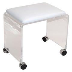 Mid-Century Modern Lucite Stool, Vanity Stool White Vinyl Seat on Chrome Casters