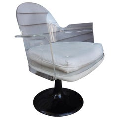 Mid-Century Modern Lucite Swivel Chair