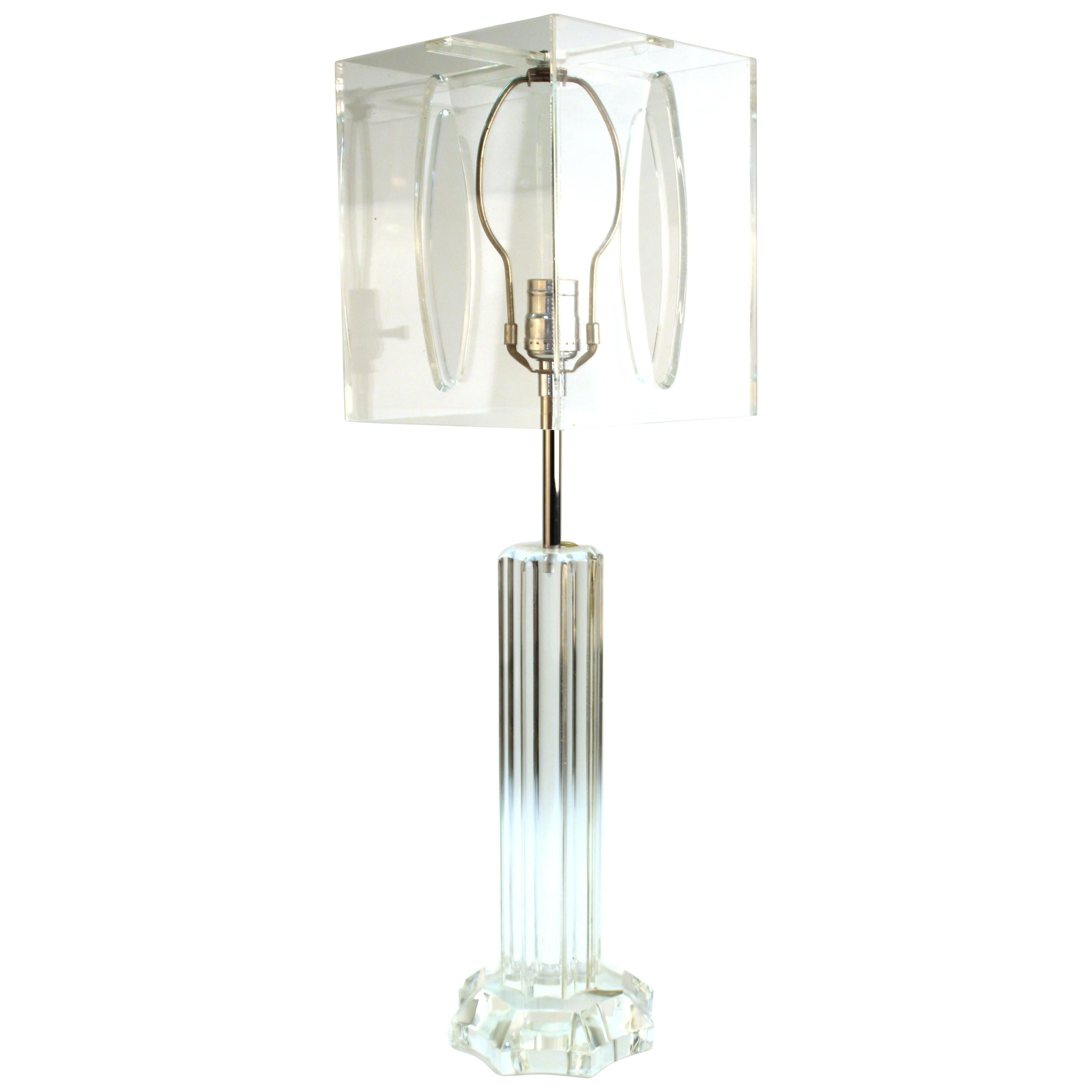 Mid-Century Modern Lucite Table Lamp with Lucite Shade