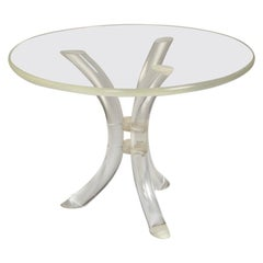 Mid-Century Modern Lucite Table with Glass Top