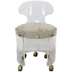 Mid-Century Modern Lucite Vanity Chair Wheels Charles Hollis Jones for Hill 70s