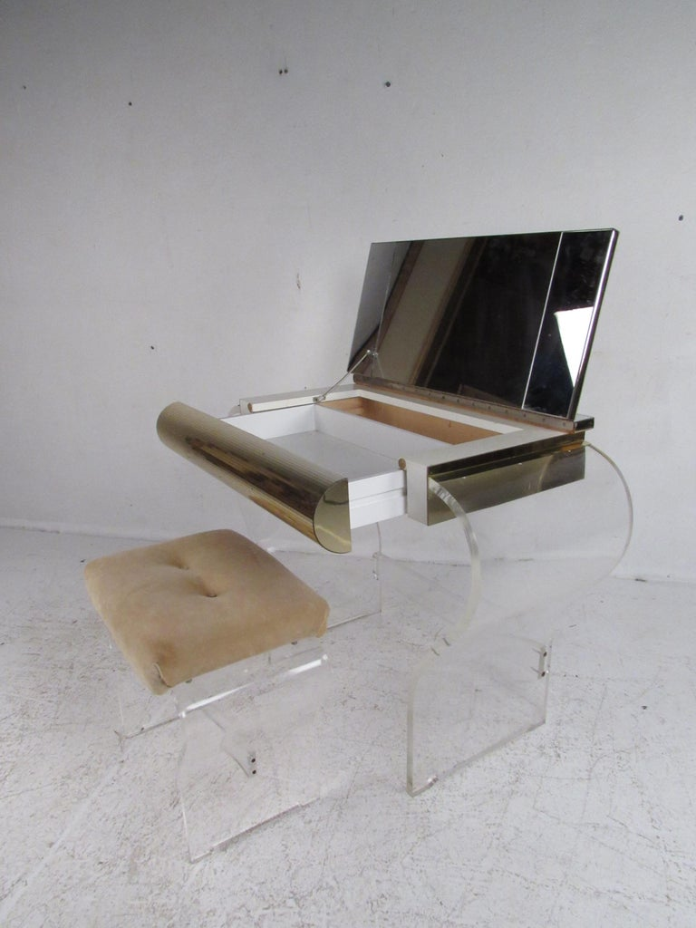 American Mid-Century Modern Lucite Vanity with a Mirrored Top by Hill Manufacturing For Sale