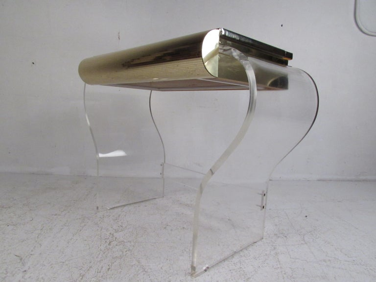 Late 20th Century Mid-Century Modern Lucite Vanity with a Mirrored Top by Hill Manufacturing For Sale