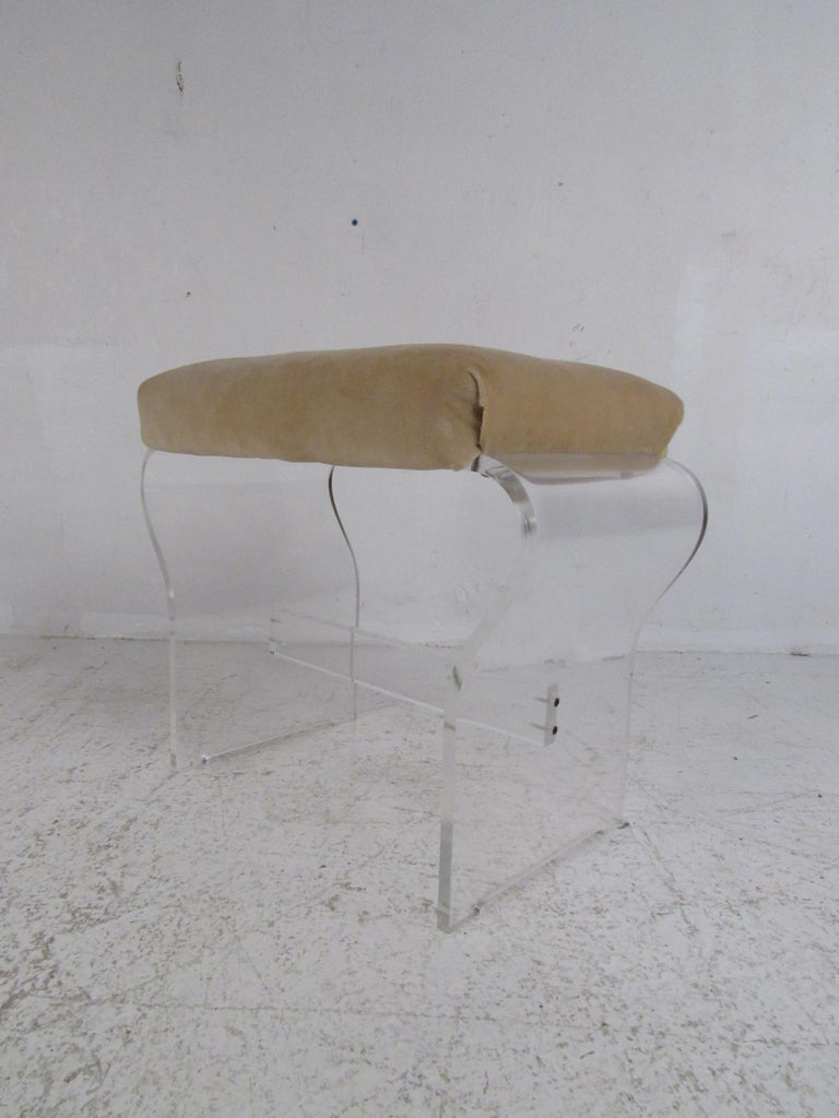 Metal Mid-Century Modern Lucite Vanity with a Mirrored Top by Hill Manufacturing For Sale