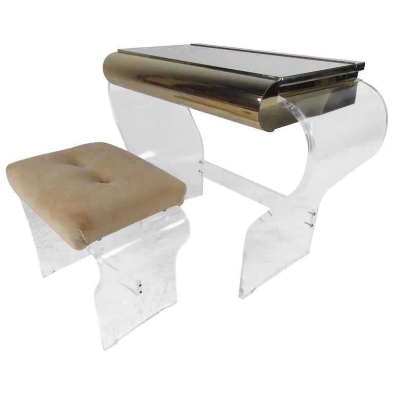 Mid-Century Modern Lucite Vanity with a Mirrored Top by Hill Manufacturing For Sale