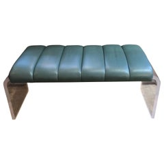 Mid-Century Modern Lucite Waterfall Bench with Leather Seat