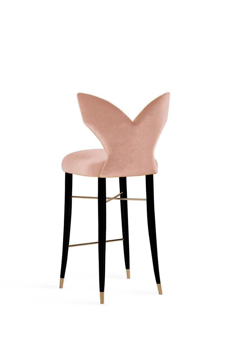 Portuguese Mid-Century Modern Luna Bar Chair Cotton Velvet Walnut Wood For Sale