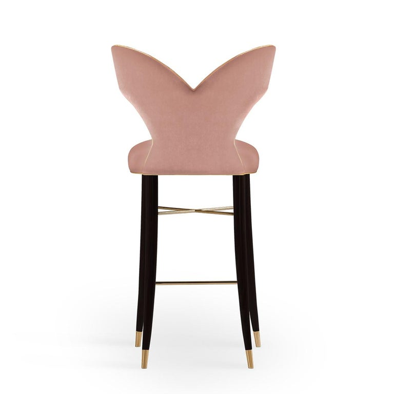 Mid-Century Modern Luna Bar Chair Cotton Velvet Walnut Wood In New Condition For Sale In RIO TINTO, PT