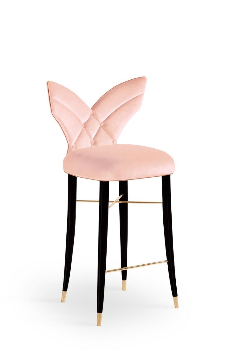 Contemporary Mid-Century Modern Luna Bar Chair Cotton Velvet Walnut Wood For Sale