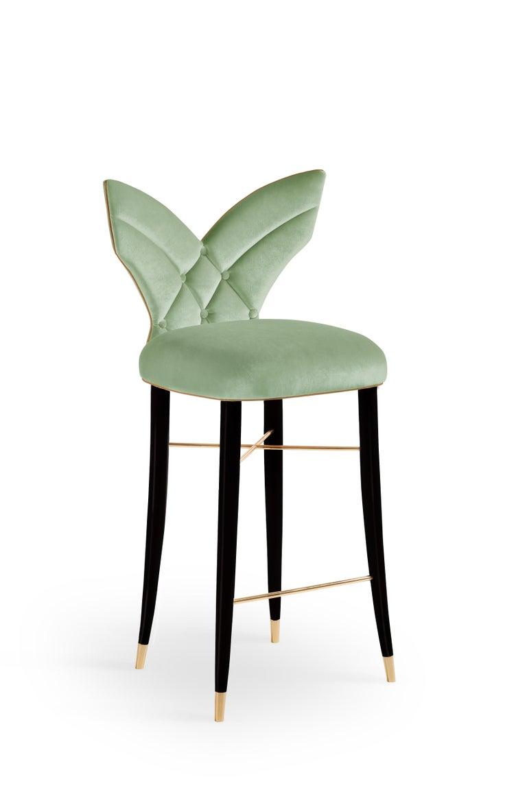 Mid-Century Modern Luna Bar Chair Cotton Velvet Walnut Wood For Sale 1