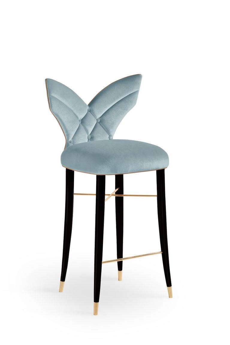 Mid-Century Modern Luna Bar Chair Cotton Velvet Walnut Wood For Sale 2