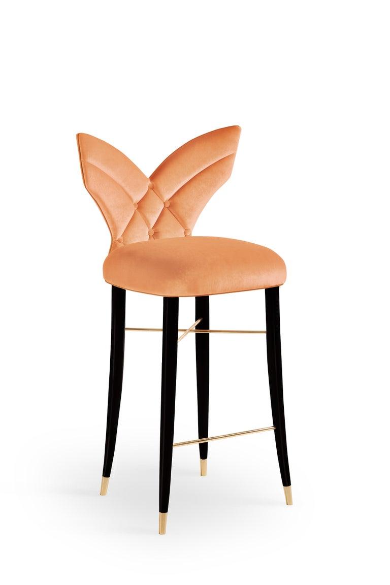 Mid-Century Modern Luna Bar Chair Cotton Velvet Walnut Wood For Sale 3