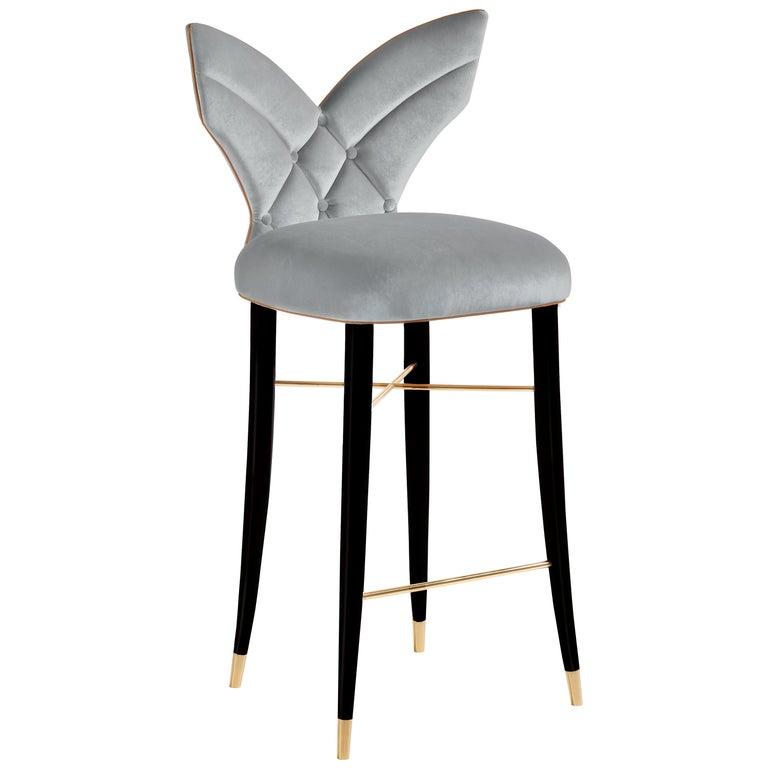 Mid-Century Modern Luna Bar Chair Cotton Velvet Walnut Wood For Sale