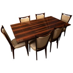 Mid-Century Modern Macassar Ebony Dining Table with Chairs