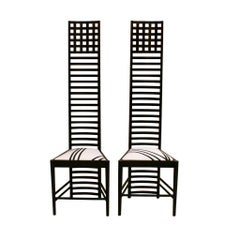 "Mid-Century Modern Mackintosh ""292 Hill House 1"" Italian Pair of Ashwood Chairs"